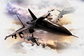 picture of top-gun  - Tree Air Force Fighter Jets in Action 3D Render Illustration - JPG