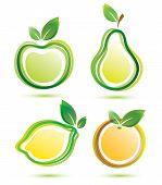 Green Fruits Vector Icons Set