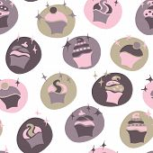 seamless retro fifties pink baby girl cupcake pattern