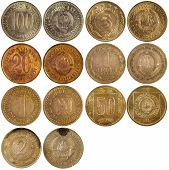 stock photo of yugoslavia  - old antique coins of yugoslavia isolated on white background - JPG