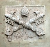 marble papal coat of arms