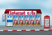 Illustration of Interent cafe and telephone booth