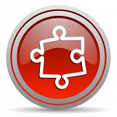 puzzle red glossy icon on white background