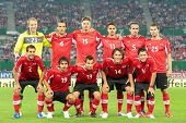 VIENNA,  AUSTRIA - AUGUST 15 The Austrian team during the national anthem before the friendly soccer