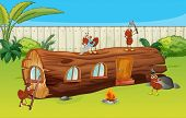 picture of fire ant  - Illustration of ants and a wood house in a beautiful nature - JPG