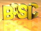 3D Word Basic On Yellow Background