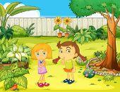Illustration of girls in the garden