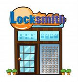 Illustration of a locksmith shop on a white background