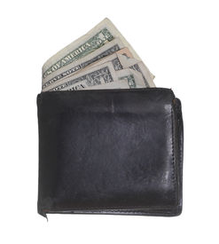 picture of hackney  - hackneyed purse with dollars on white background - JPG