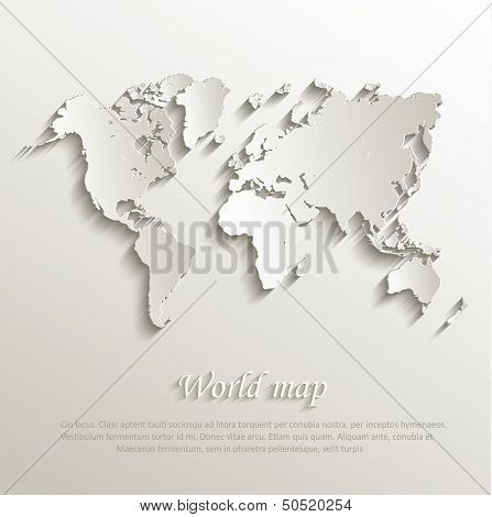 vector World map card paper 3D nature poster