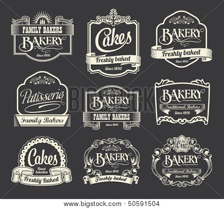Calligraphic vector sign and label design set poster