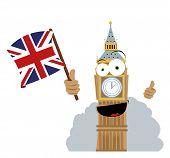 Funny Big Ben Holding A Flag
