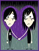 stock photo of emo-boy  - a vector cartoon representing a couple of young emos just fallen in love - JPG