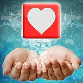 Heart Icon On Hand ,medical Background