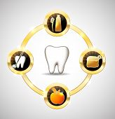 image of gold tooth  - Healthy tooth illustration - JPG