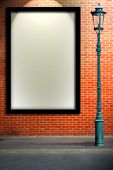 Lamp Post Street And Blank Billboard On Brick Wall