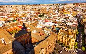 City View And Plaza Churches From Giralda Tower Shadow Seville Cathedral Spain