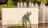 Juan Sebastian El Cano Magellan Second In Command Explorer Statue Fountain Seville Spain