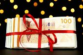 Money wrapped for a christmas present