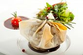 picture of beef wellington  - Beef Wellington Steak with Sauce and Vegetables - JPG