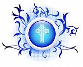 cross icon on blue decorative button