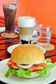 Burger And Coffee In Breakfast