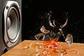 stock photo of subwoofer  - Loud Music Can Cause Damage  - JPG