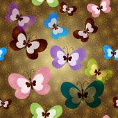Seamless Pattern With Green Butterflies