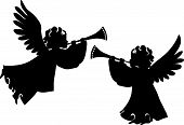 image of trumpet  - Cute angels silhouettes set with trumpet for design - JPG