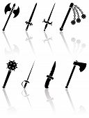 stock photo of longsword  - Set of black ancient weapon icons on white background - JPG