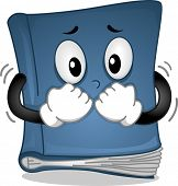 Mascot Illustration Featuring a Book Trembling in Fear