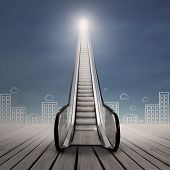 pic of stairway  - Escalator lead to an opening door in the sky represents a path to better career