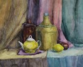 Still Life With Bottle, Vase And Teapot