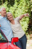 Mature couple leaning against their red cabriolet on a sunny day