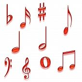 Set Of Isolated Musical Notes