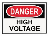 picture of osha  - Danger high voltage OSHA warning sign isolated on white - JPG