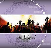 Dancing people. Concert crowd. Vector
