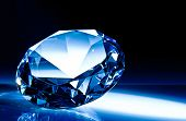 stock photo of precious stone  - diamond classic cut blue tone - JPG