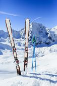 Ski, winter sport,  winter mountains - ski run in Italian Alps