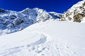 Ski, winter sport,  winter mountains - freeride in fresh powder snow in Italian Alps