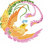 Picture of illustration drawing of phoenix on white background.