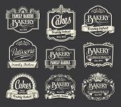 stock photo of blackboard  - Calligraphic vector sign and label design set - JPG