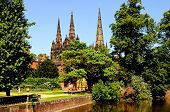 Memorial garden and Cathedral, Lichfield, England.
