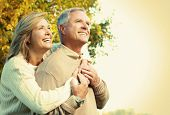 stock photo of grandma  - Happy senior couple relaxing in the park - JPG