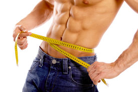 pic of fitness man body  - Muscular and tanned male body parts is being measured - JPG