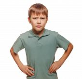 angry teen disgruntled teenager boy frowning isolated on white b