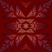 Fabulous Symmetric Pattern Of The Leaves In Purple. Collection - Tree Foliage. On Claret Background.