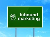 Business concept: Inbound Marketing and Head With Gears on road sign background