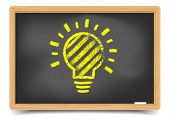 detailed illustration of a blackboard with a light bulb sketch, eps10 vector, gradient mesh included