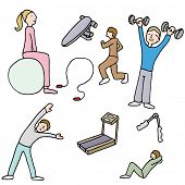 An image of a people using fitness items.